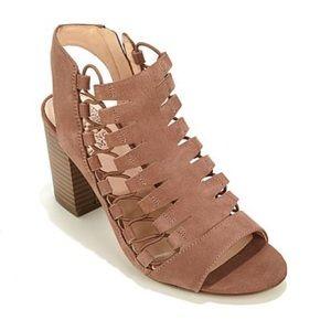 Vince Camuto Brian leather chunky tan heel sandal